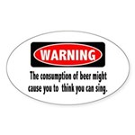 Beer Warning Oval Sticker