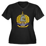 USS HOPEWELL Women's Plus Size V-Neck Dark T-Shirt