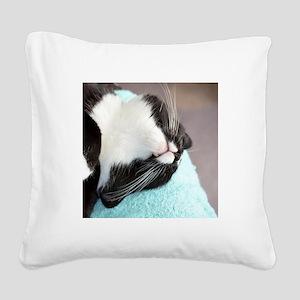 sleeping tuxedo cat Square Canvas Pillow