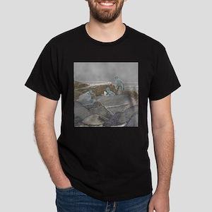 three boys jetty rocks sketch T-Shirt