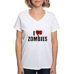 I Love Zombies Women's V-Neck T-Shirt