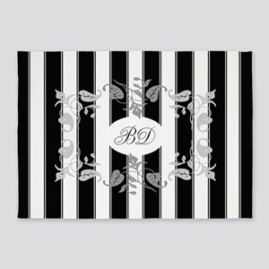 Black And White Stripes With Gray 5'x7'are