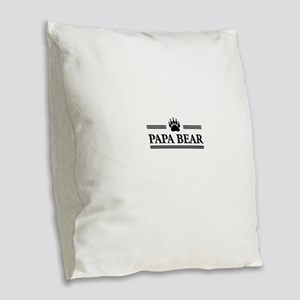 Papa Bear Burlap Throw Pillow