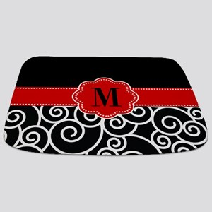Black Red Swirls Monogram Bathmat