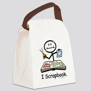 Scrapbooking Stick Figure Canvas Lunch Bag