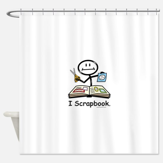Scrapbooking Stick Figure Shower Curtain