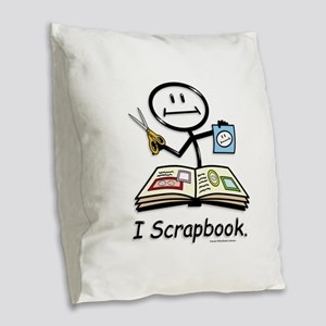 Scrapbooking Stick Figure Burlap Throw Pillow