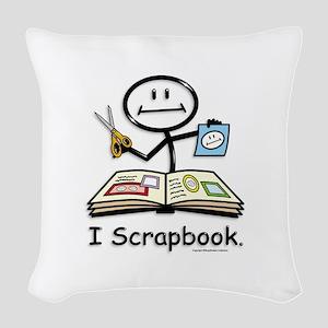 Scrapbooking Stick Figure Woven Throw Pillow
