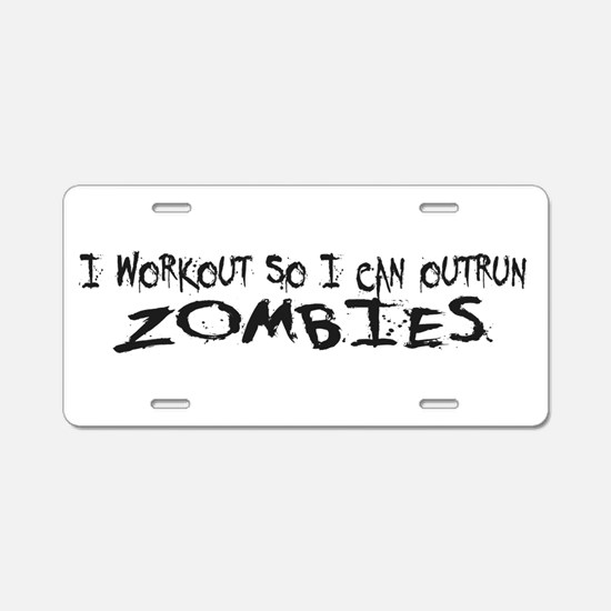 Outrun Zombies 1a Aluminum License Plate
