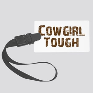 Cowgirl_tough_brown Large Luggage Tag