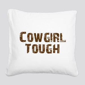 cowgirl_tough_brown Square Canvas Pillow