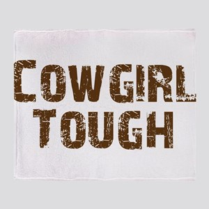 cowgirl_tough_brown Throw Blanket