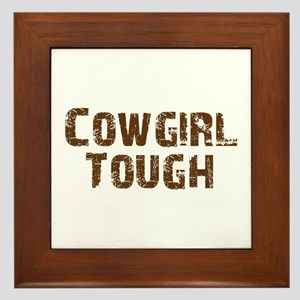 Cowgirl_tough_brown Framed Tile