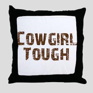cowgirl_tough_brown Throw Pillow