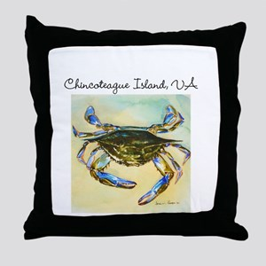 Chincoteague Island, VA Blue Crab Throw Pillow
