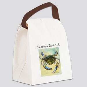 Chincoteague Island, VA Blue Crab Canvas Lunch Bag