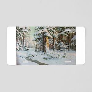 Winter Forest Scene Aluminum License Plate