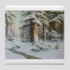 Winter Forest Scene Tile Coaster