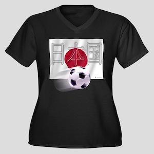 Soccer Flag Nihon Koku Women's Plus Size V-Neck Da