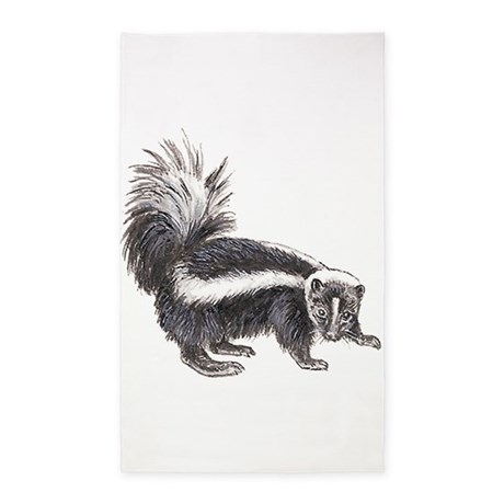 Skunk Drawing 3x5 Area Rug By Petdrawings