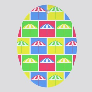 Colorful parasol pattern Ornament (Oval)