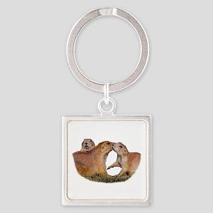 Prairie Dog Kiss Square Keychain