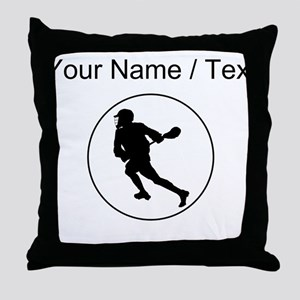 Custom Lacrosse Player Circle Throw Pillow