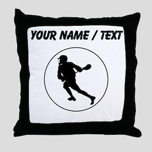 Custom Lacrosse Player Circle Throw Pillow