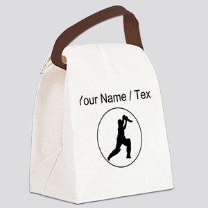 Custom Cricket Player Circle Canvas Lunch Bag