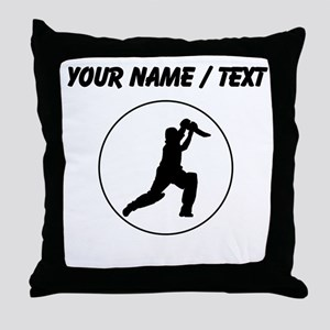 Custom Cricket Player Circle Throw Pillow
