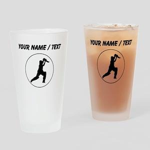 Custom Cricket Player Circle Drinking Glass