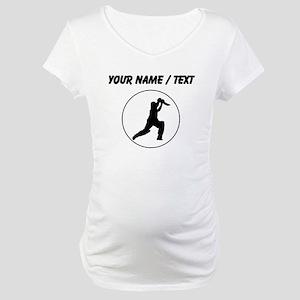 Custom Cricket Player Circle Maternity T-Shirt