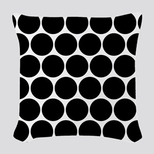 Black And White Polka Dotted Woven Throw Pillow