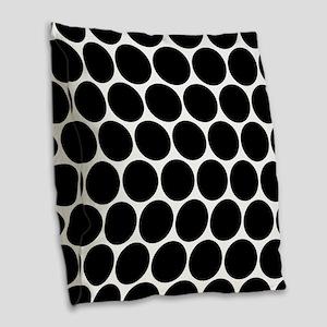 Black And White Polka Dotted Burlap Throw Pillow