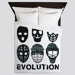 Hockey Goalie Mask Evolution Queen Duvet