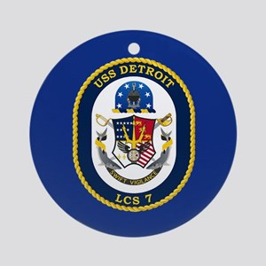 USS Detroit LCS-7 Ornament (Round)