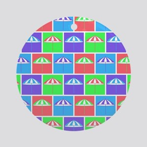 Colorful parasol pattern Round Ornament