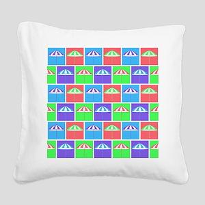 Colorful parasol pattern Square Canvas Pillow