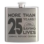 ARC 25 Years of Saving Lives black logo Flask