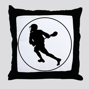 Lacrosse Player Circle Throw Pillow