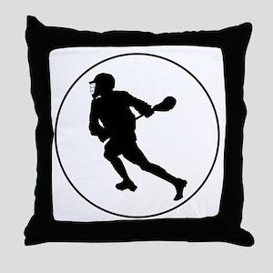 Lacrosse Player Circle Throw Pillow