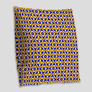 Orange Blue And Yellow Floral Burlap Throw Pillow