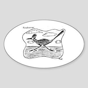 Roadrunner Illustration Oval Sticker