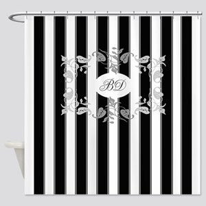 black and gray shower curtain. Black And White Stripes With Gray Shower Curtain Curtains  CafePress