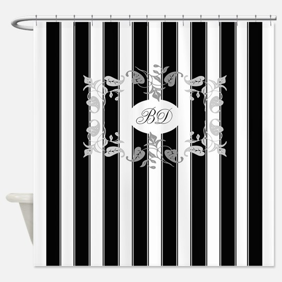 Black And White Stripes With Gray Shower Curtain