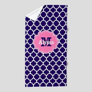 Navy Pink Quatrefoil Personalized Beach Towel