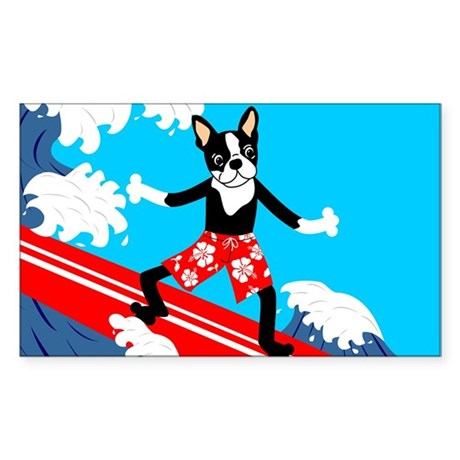 Boston Terrier Longboard Surfer Sticker