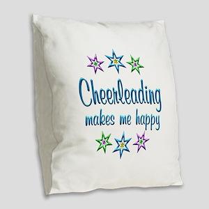 Cheerleading Happy Burlap Throw Pillow
