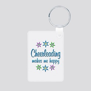 Cheerleading Happy Aluminum Photo Keychain