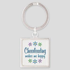 Cheerleading Happy Square Keychain
